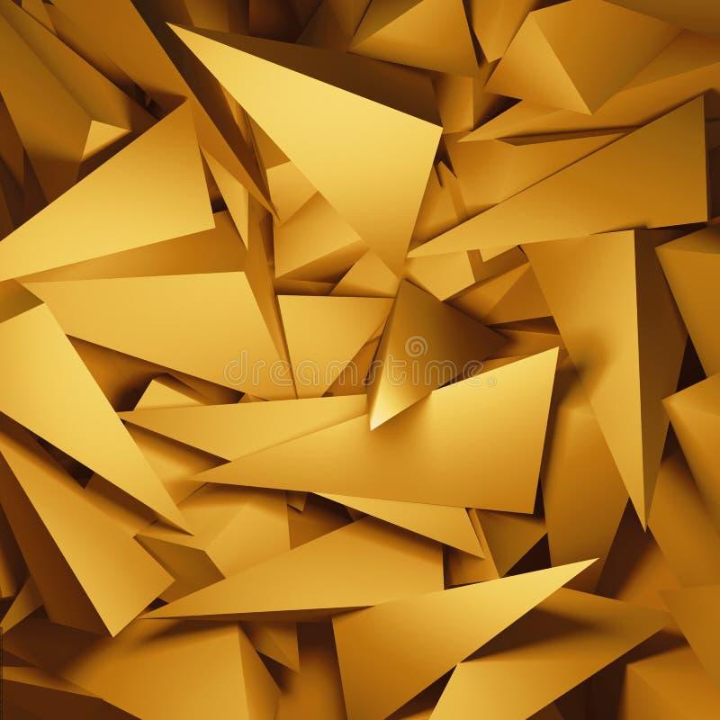 Abstracte 3d gouden driehoeks crystalls achtergrond stock illustratie
