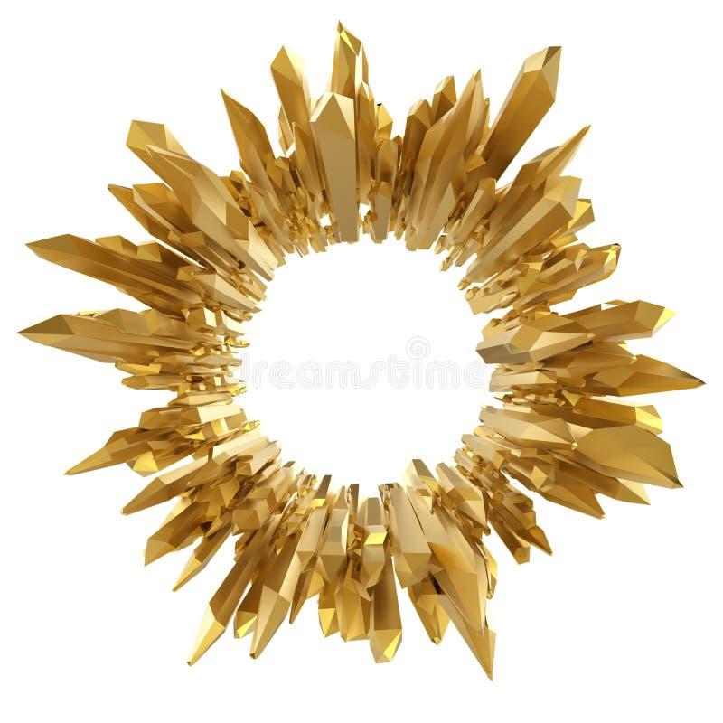 Abstracte 3d gouden gekristalliseerde achtergrond royalty-vrije illustratie