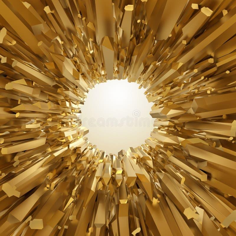 Abstracte 3d gouden gekristalliseerde achtergrond stock illustratie