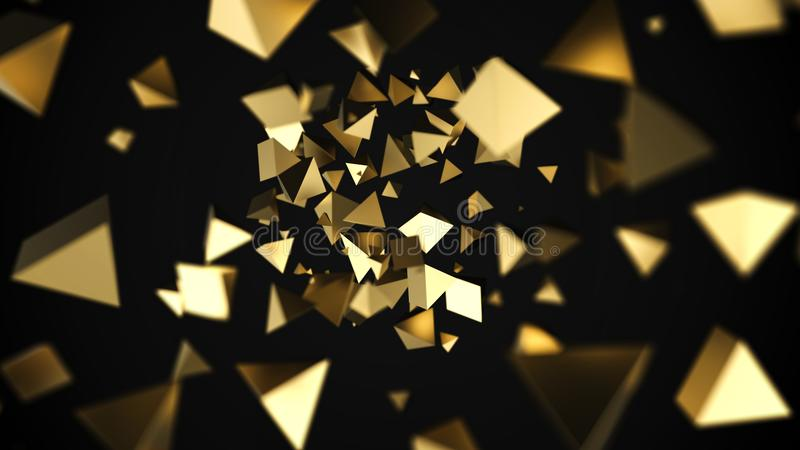 Abstracte 3D gouden piramidesstroom royalty-vrije illustratie
