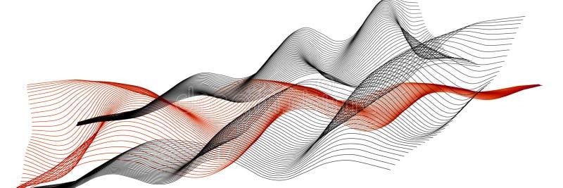 Abstracte 3d illustratie Gekleurde golvende lijnen op een witte achtergrond Panoramische achtergrond royalty-vrije illustratie