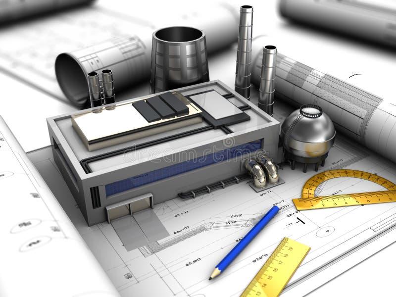 Het ontwerp van de fabriek royalty-vrije illustratie