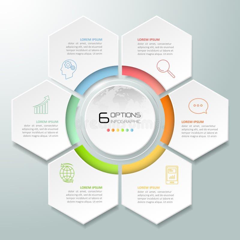 Abstracte 3d infographic 6 opties, Bedrijfs infographic concept royalty-vrije illustratie