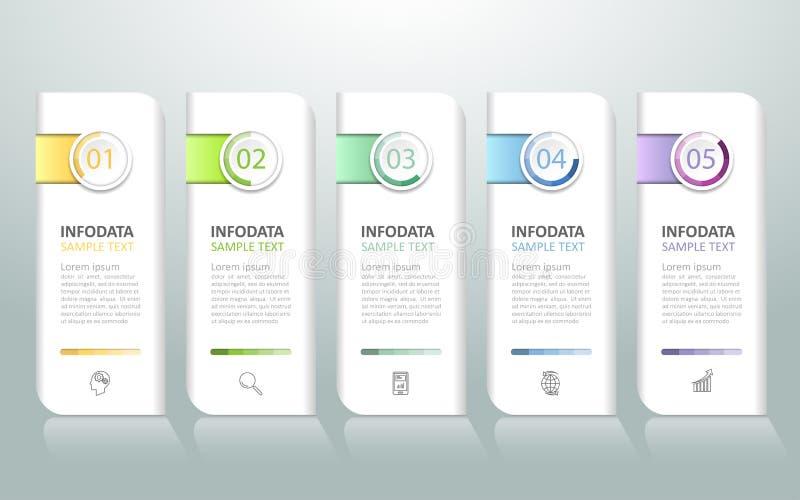 Abstracte 3d infographic 5 opties, Bedrijfs infographic concept vector illustratie