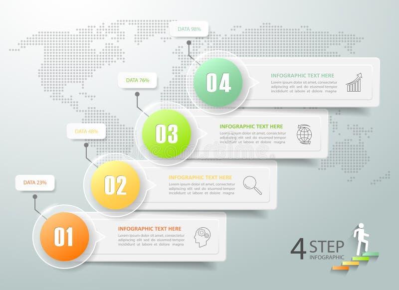 Abstracte 3d infographic 4 opties, Bedrijfs infographic concept stock illustratie