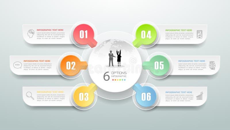 Abstracte 3d infographic 6 opties, Bedrijfs infographic concept stock illustratie