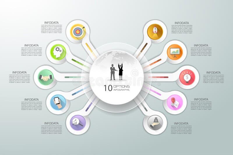 Abstracte 3d infographic 10 opties, Bedrijfs infographic concept royalty-vrije illustratie