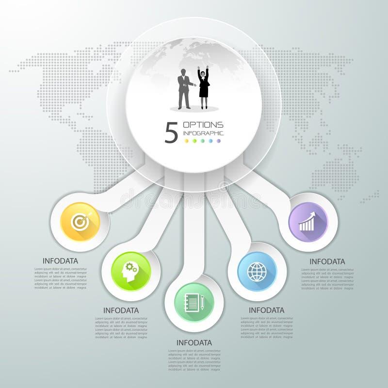 Abstracte 3d infographic 5 opties, Bedrijfs infographic concept stock illustratie
