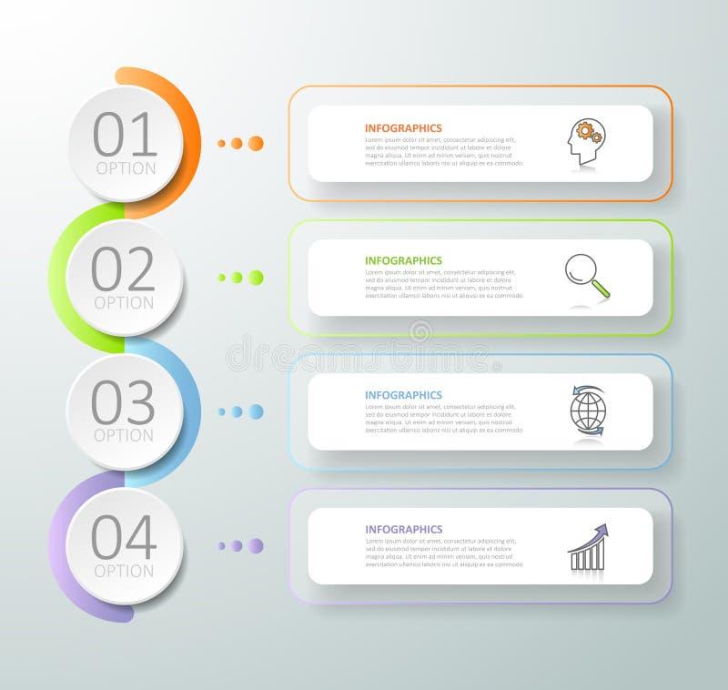 Abstracte 3d infographic 4 opties, Bedrijfs infographic concept vector illustratie