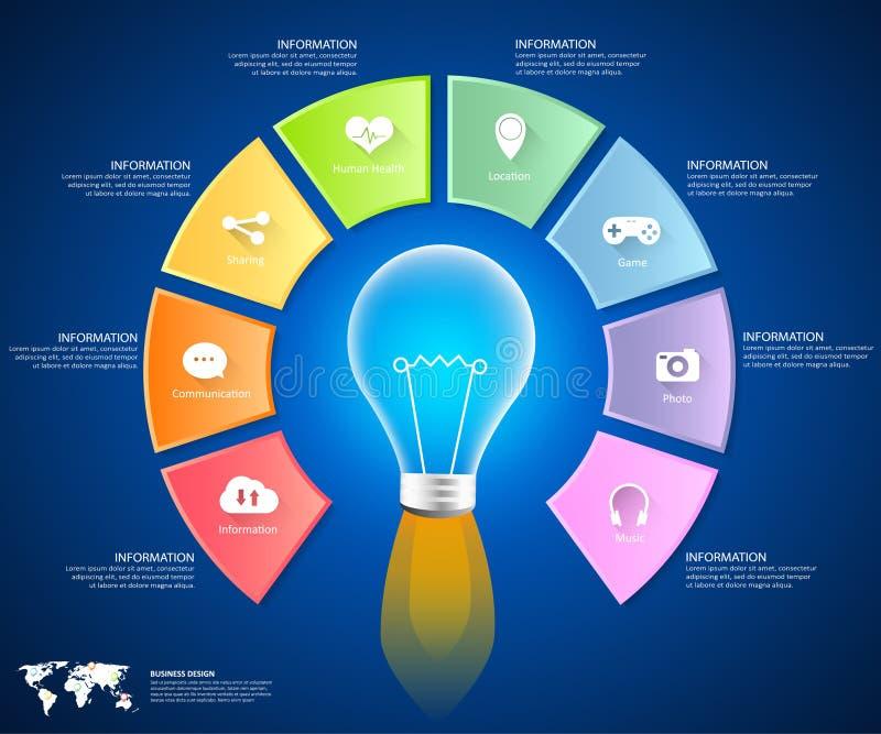 Abstracte 3d infographic 8 opties, Sociaal media infographic concept stock illustratie