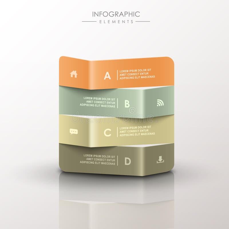 Abstracte 3d infographics van de origamibanner stock illustratie
