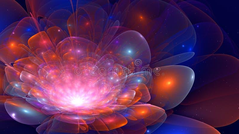 Abstracte 3D kleurrijke fractal bloemillustratie in blauw en ora stock illustratie