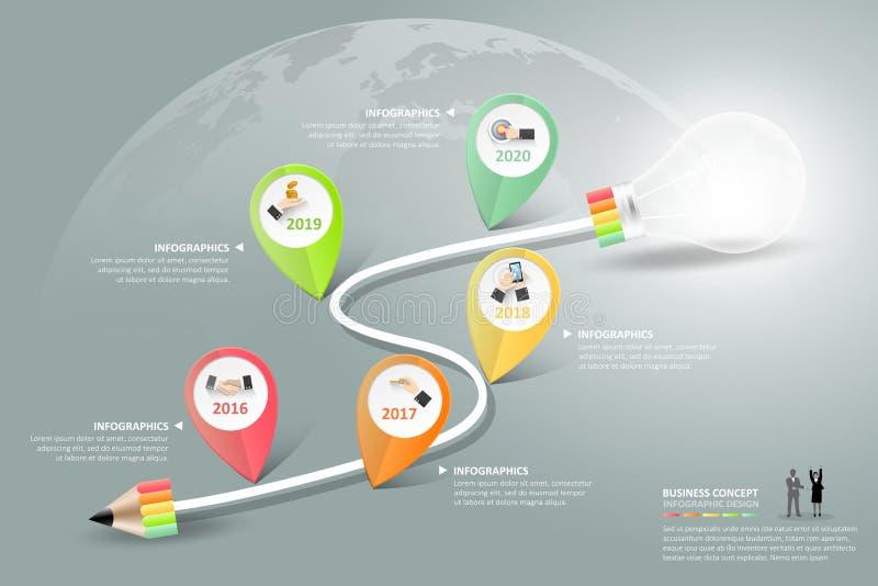 Abstracte 3d lightblub infographic 5 opties, Bedrijfsconcepten infographic malplaatje royalty-vrije illustratie