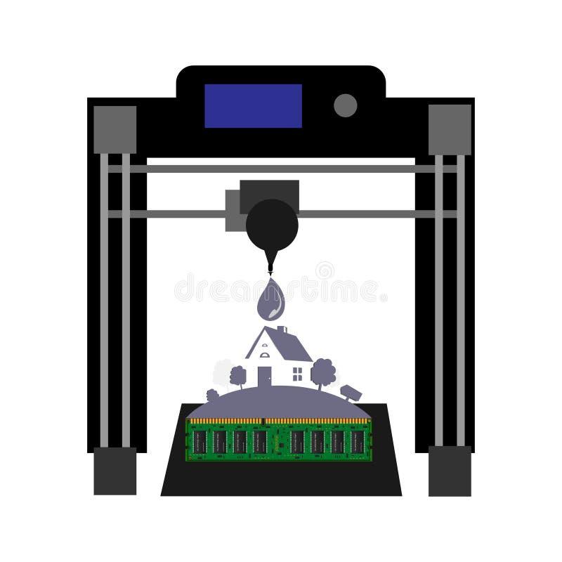 Abstracte 3D printervector als achtergrond vector illustratie