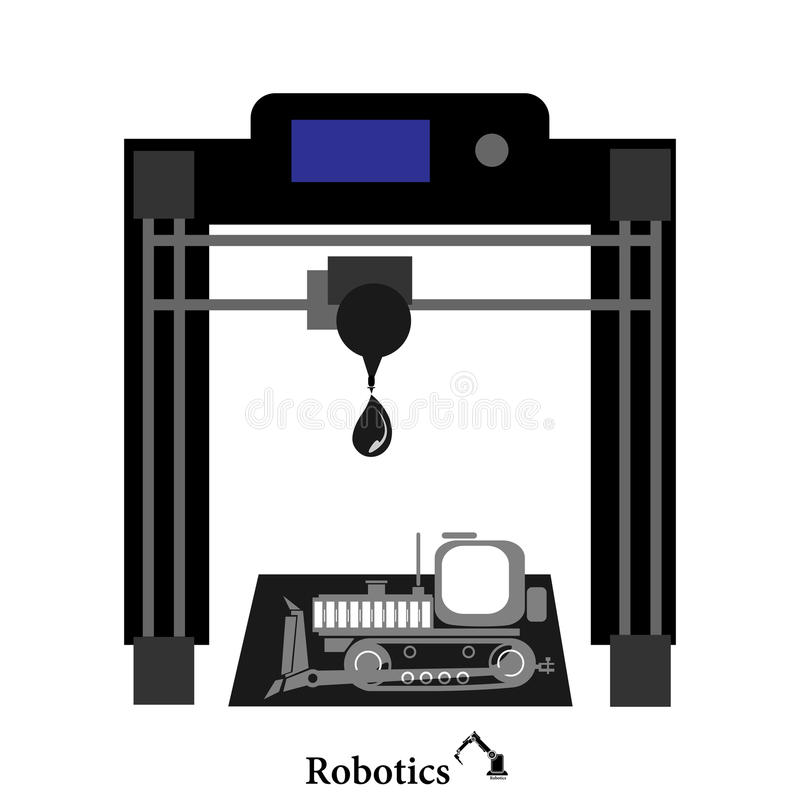 Abstracte 3D printervector als achtergrond stock illustratie