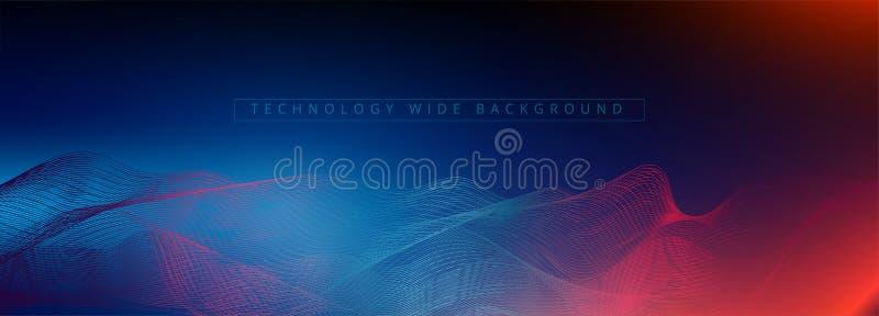 Abstracte 3d technologie en wetenschapsneonvisualisatie r Digitaal Behang Bedrijfs concept Grote dat royalty-vrije illustratie