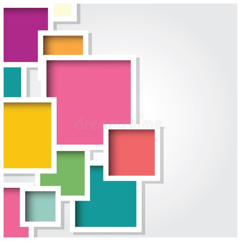 Abstracte 3d vierkante achtergrond, kleurrijke geometrische tegels, vector vector illustratie