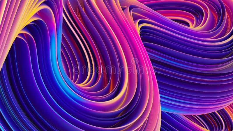 Abstracte 3D vloeibare holografische golvende lijnenachtergrond voor in ontwerp royalty-vrije illustratie