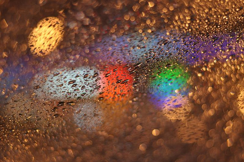 Abstracte dalingen van regen op glas 07 stock afbeelding