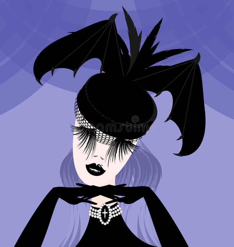 Abstracte dame met gotische hoed royalty-vrije illustratie