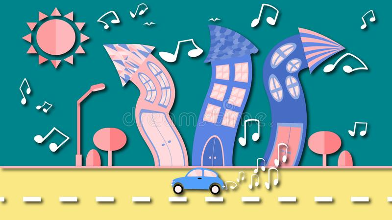 Abstracte dansende stad in een vlakke stijl met een schaduw met een vinylplaat in plaats van de zon met gebogen huizen met nota's royalty-vrije illustratie
