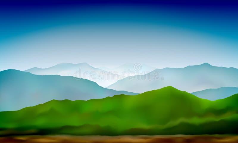 Abstracte de aardachtergrond van het berglandschap Landschap van berg het groene heuvels Vector kleurrijke achtergrond vector illustratie