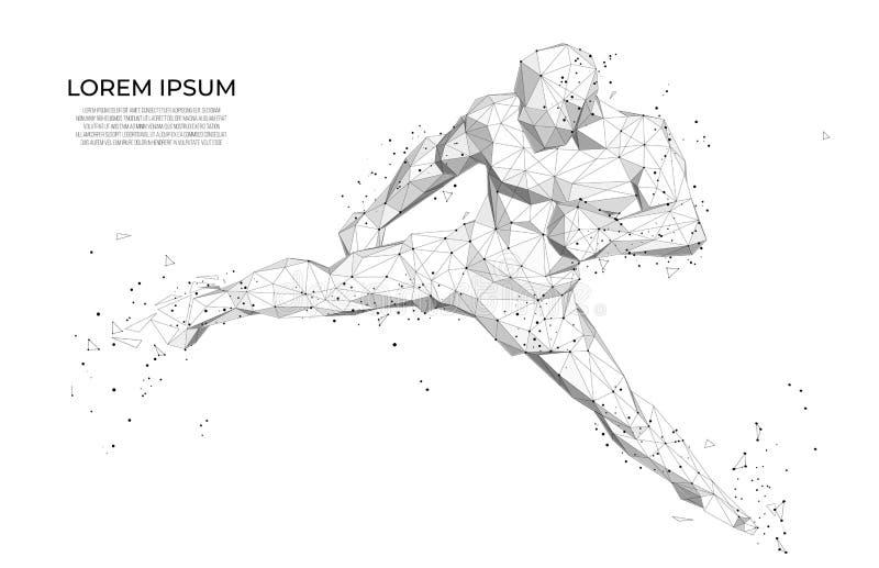 Abstracte de atletenbokser van atletenAbstract Menselijk lichaams lage polywireframe Abstracte Sport, lage polystijl royalty-vrije illustratie