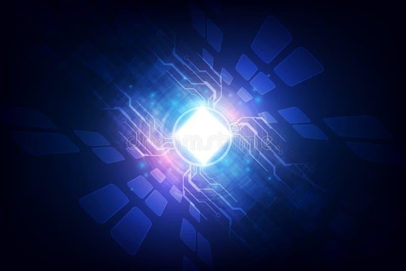 Abstracte de bewerker van de achtergrond technologiespaander kringsraad en HTML-code, van de illustratie blauwe technologie vecto royalty-vrije illustratie