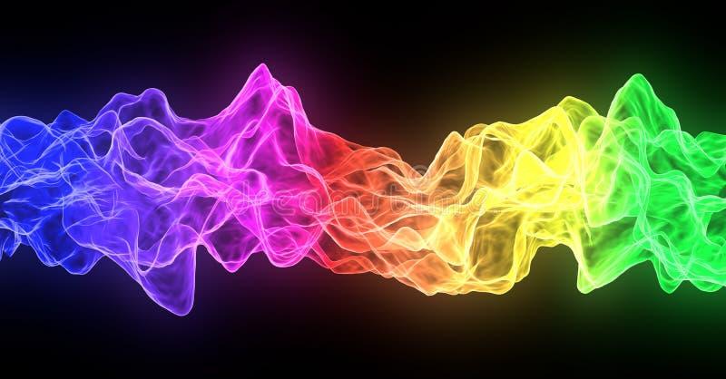Abstracte de brandstroom van de regenboogrook, kleurrijk op zwarte achtergrond stock illustratie
