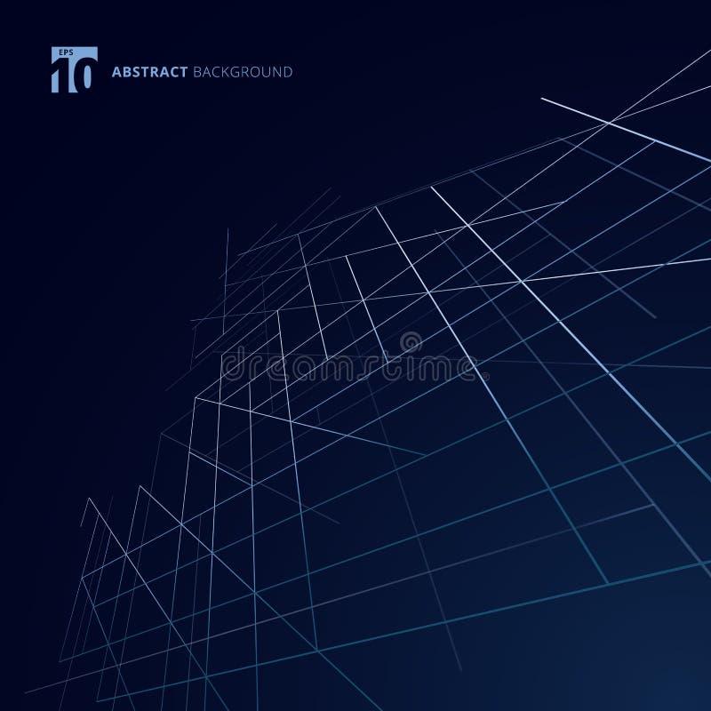 Abstracte de dimensie van de de bouw buitenstructuur lijnen zilveren kleur op donkerblauwe achtergrond De moderne vierkante openi vector illustratie