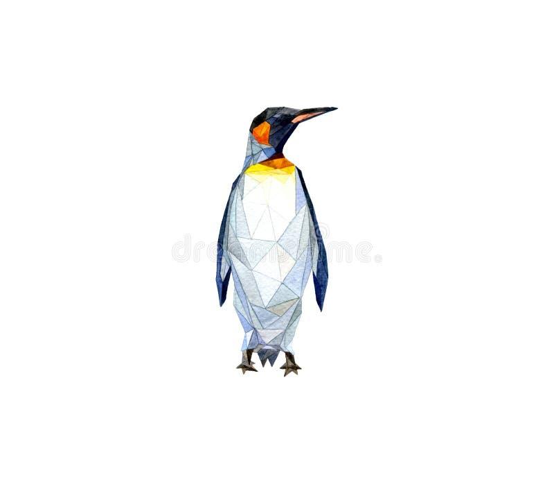 Abstracte de driehoekendruk van de Pinguinwaterverf royalty-vrije stock afbeelding