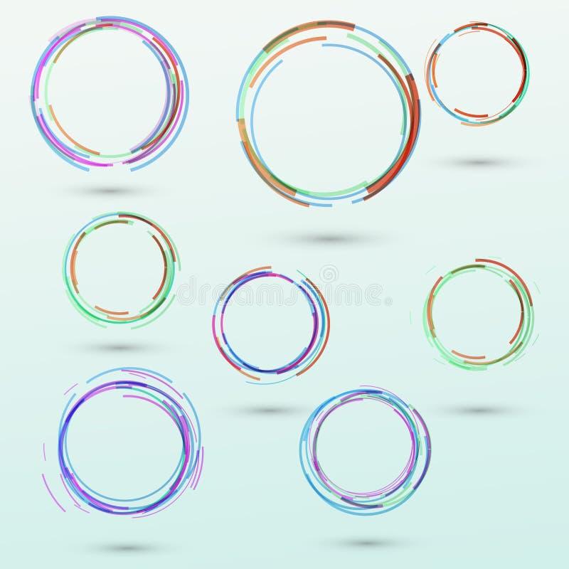 Abstracte de elementeninzameling van het cirkelontwerp stock illustratie