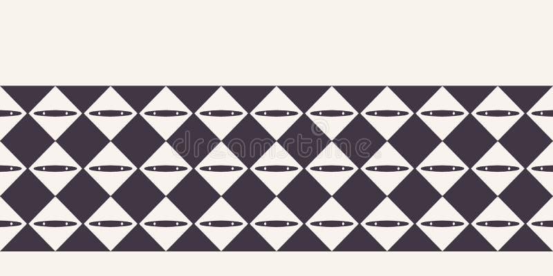 Abstracte de grensachtergrond van het diamantschaakbord Zwart-wit hand getrokken textuurillustratie Moderne klassieke controle In vector illustratie