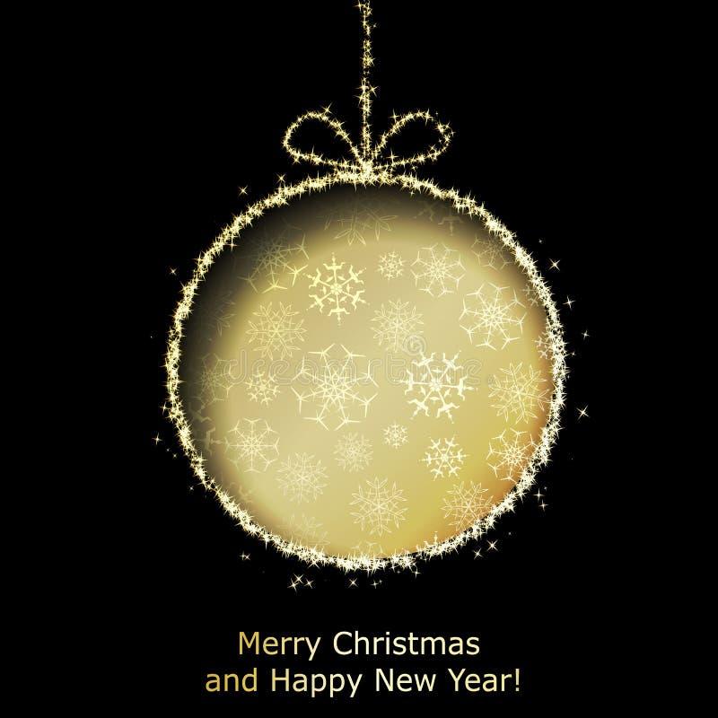 Abstracte de groetkaart van Kerstmis met de gouden bal van Kerstmis royalty-vrije illustratie