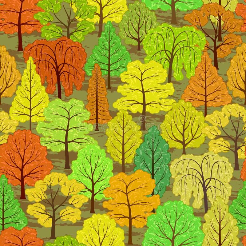 Abstracte de herfst bos naadloze achtergrond royalty-vrije illustratie