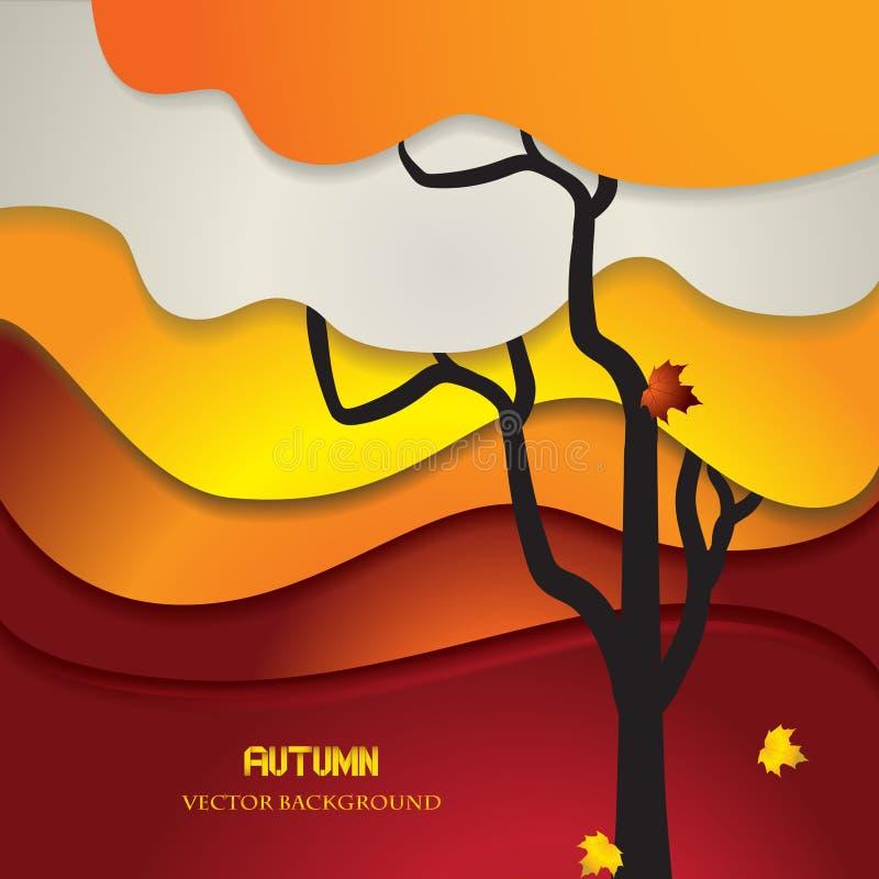 Abstracte de herfstachtergrond met origami gestileerde boom en bladeren stock foto's
