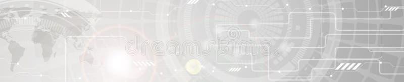 Abstracte de kopbalbanner van het technologie grijze Web royalty-vrije illustratie