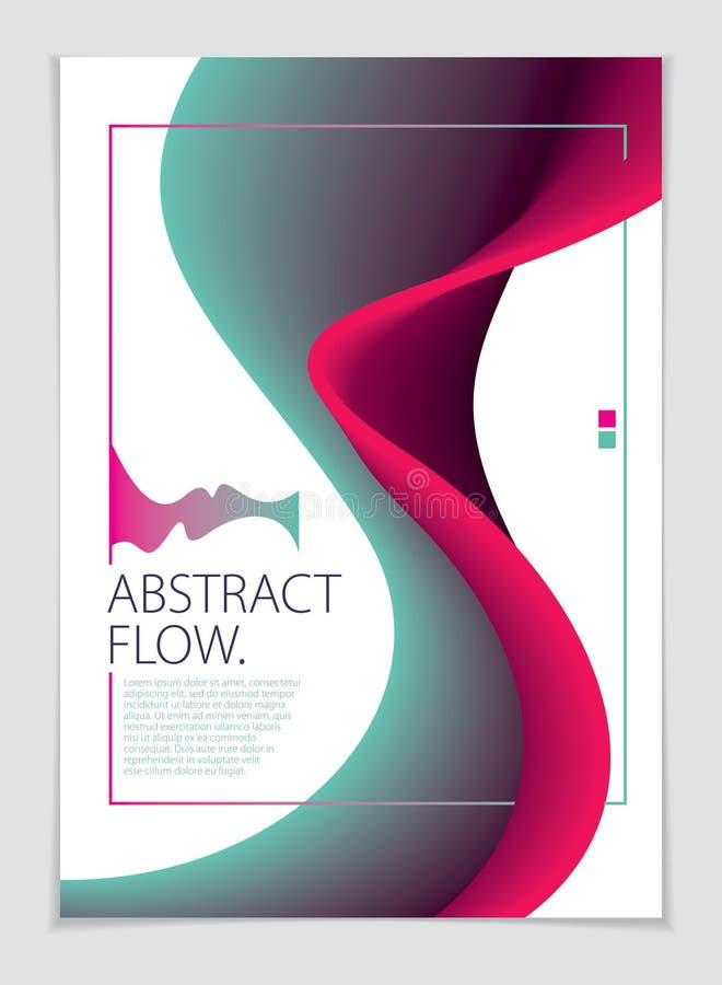 Abstracte de kunstachtergrond van het stroom vloeibare vector kleurrijke mengsel A4 drukformaat Brochure, vlieger, dekking stock illustratie