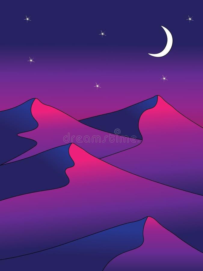 Abstracte de nachtscène van de woestijnmaan royalty-vrije illustratie