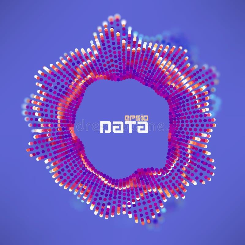 Abstracte de onstuimigheidsgolf van het gegevensgebied De wetenschaps futuristische visualisatie van de deeltjesstroom Correcte r royalty-vrije illustratie