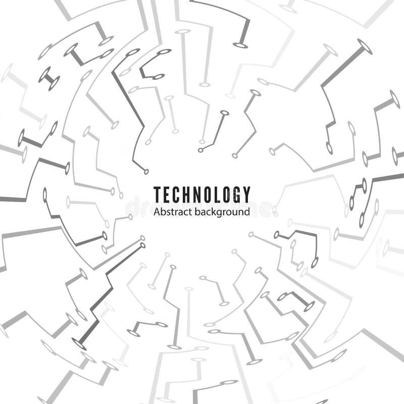 Abstracte de raadsachtergrond van de Technologiekring Abstracte motherboard textuur Elektronische sporen Vector illustratie stock illustratie