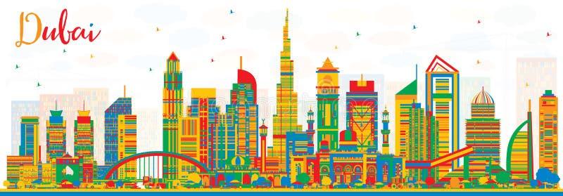 Abstracte de Stadshorizon van Doubai de V.A.E met Kleurengebouwen vector illustratie