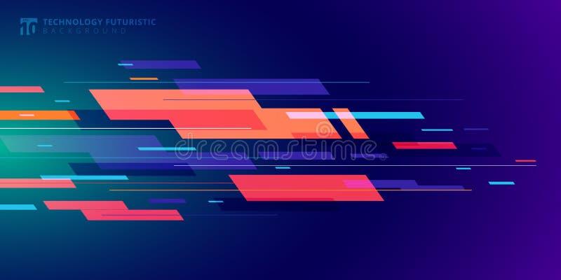 Abstracte de technologie futuristische geometrische kleurrijk van de malplaatjebanner op donkerblauwe achtergrond vector illustratie