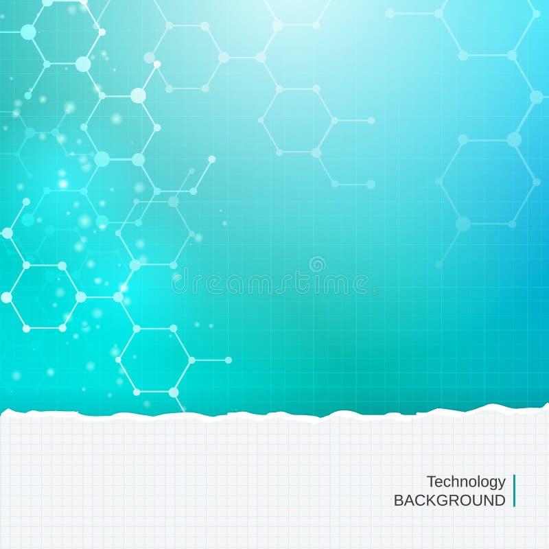 Abstracte de technologie medische achtergrond van chemiemolecules stock illustratie