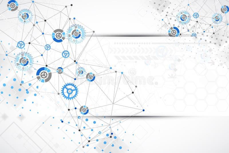 Abstracte de technologieachtergrond van de meetkunde blauwe kleur royalty-vrije illustratie