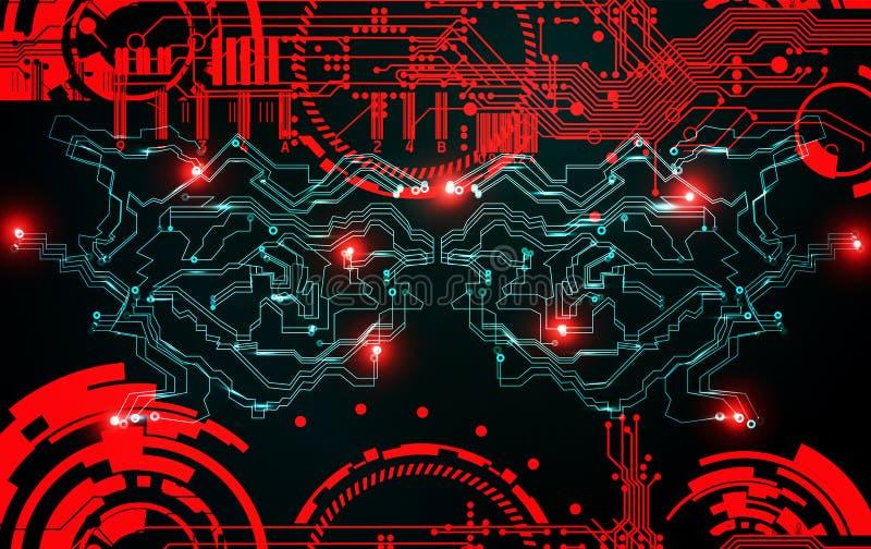 Abstracte de technologieachtergrond van grunge futuristische cyber sc.i-FI kringsontwerp Blauwdruk op oude grungy oppervlakte Cyb vector illustratie
