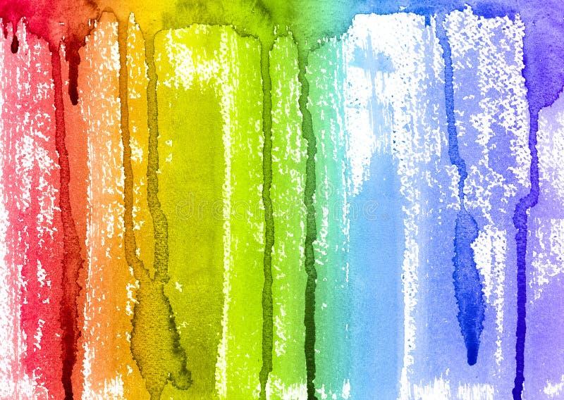Abstracte de Verfborstel van de Waterverfregenboog en Druppelsachtergrond stock foto's