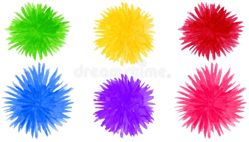 Abstracte de vormenachtergrond van de waterverfpompon Ronde kleurrijke die bloemelementen op wit worden ge?soleerd stock illustratie