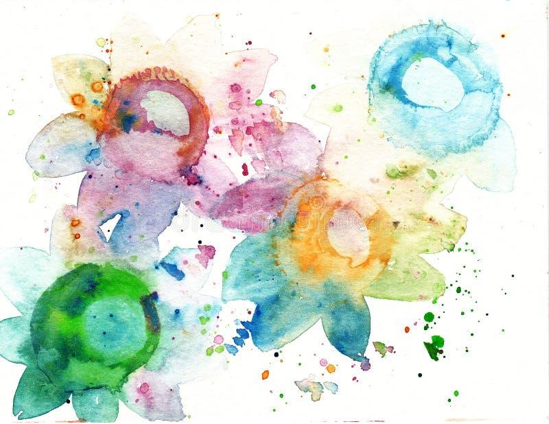 Abstracte de waterverf van de achtergrond kunstplons vlekborstel vector illustratie