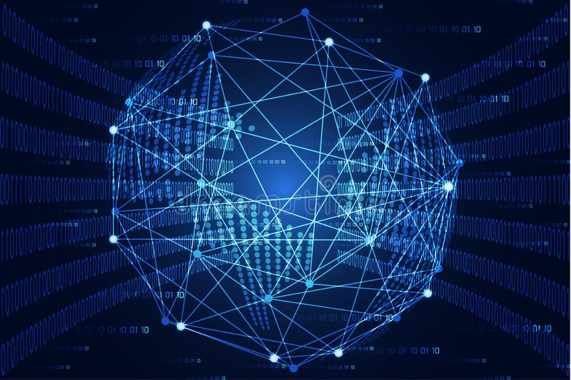 Abstracte de wereld digitale verbinding en binair getal van het technologieconcept hallo tec stock illustratie